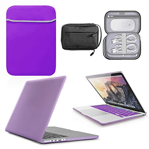GUPi - Purple Hard Shell Case, Cover with matching Neoprene Sleeve & Resistant Accessory Bag for Apple MacBook Pro [12-inch MacBook [A1534-2015-2017]
