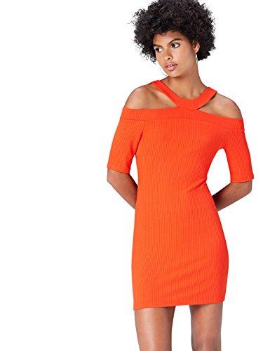 find. Vestido Corto Ajustado con Hombros al Aire para Mujer , Rojo (Sport Red), 38 (Talla del Fabricante: Small)