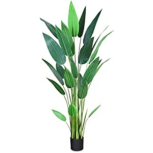 Silk Flower Arrangements CROSOFMI Artificial Canna Lily Tree 5.2 Feet Fake Tropical Palm Tree Perfect Large Faux Silk Plants in Pot for Indoor Outdoor House Home Office Garden Modern Decoration Housewarming Gift,1Pack