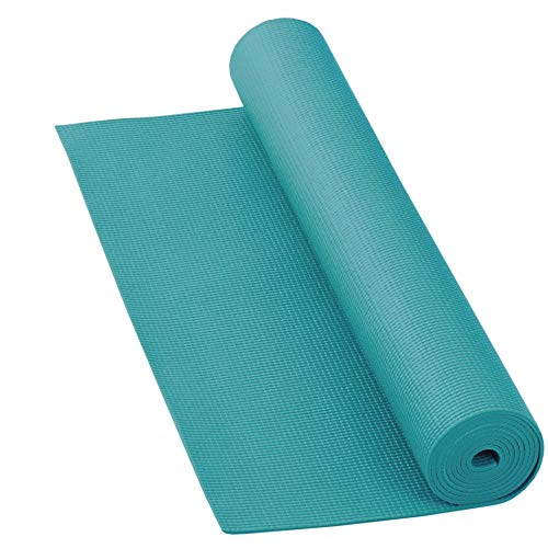 LILENO SPORTS Yoga Matte Türkis (180x60cm) inkl. Tragegurt - Gymnastik und Fitnessmatte extra rutschfest in 4 mm Dicke - Sport und Yogamatte für Gym, Workout und Yoga - Sportmatte für Zuhause