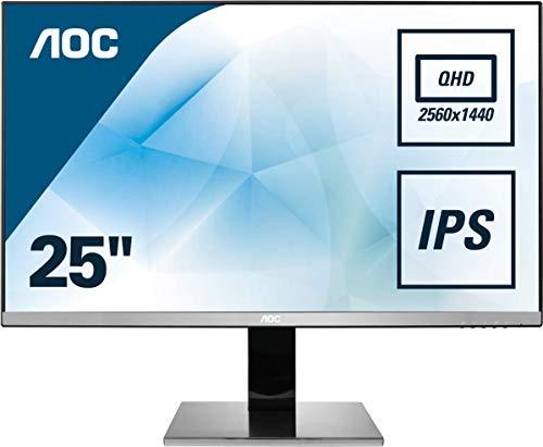 AOC Q2577PWQ 63,5 cm (25 Zoll) Monitor (VGA, DVI, HDMI, DisplayPort, IPS Panel, 2560 x 1440, 60 Hz, Pivot) silber