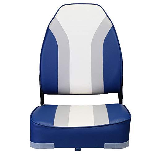 Eevelle Wake High Back Folding Rainbow Boat Seat (Blue, Grey, White)