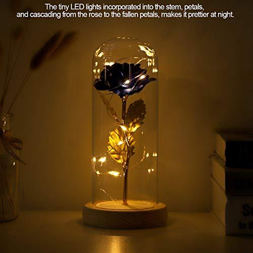 Forever Preserved Rose, Beautiful Glass Rose, Forever Rose, Valentine\'s Day Wooden Base for Wedding Gift(Blue)