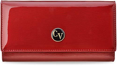 Große Damen Geldbörse Cavaldi Geldbeutel lackiertes Naturleder rot