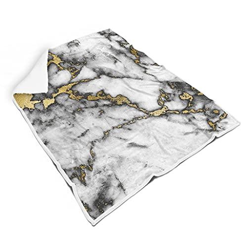 WOSITON Oriental Art Marble Smooth Bright colores mantas de cama para sofá Mano de obra cuidadosa para niños o adultosEstilo familiar Arte Oriental Mármol blanco 60x80 pulgadas