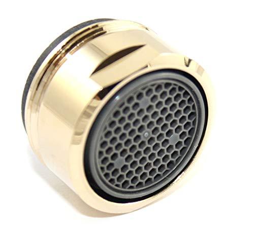 SANTRAS® Strahlregler M24x1 für jeden herkömmlichen Wasserhahn mit Siebeinsatz in Gold – Perlator (Außengewinde 22 mm) mit Filtereinsatz, hochwertiger Dichtung und Luftmixer MADE IN GERMANY