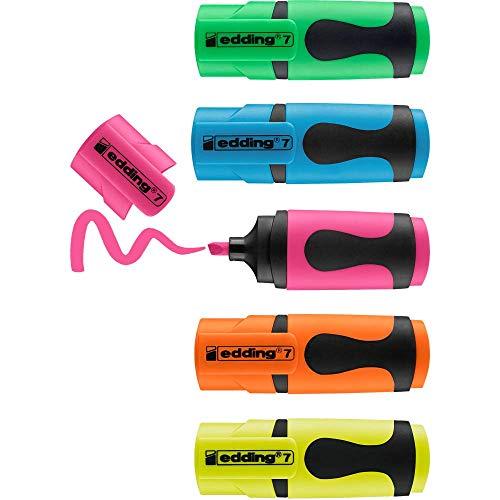 edding 7 Mini Textmarker - Neon-Farben - 5 highlighter pens - Keilspitze 1-3 mm - Textmarker klein in trendigen Farben - für Bullet Journal, Schule, Uni oder Büro