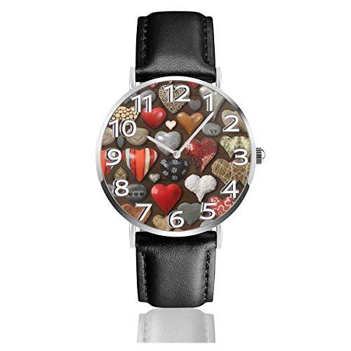 Reloj de Pulsera Piedra en Forma de corazón Metal y Madera Correa de Cuero sintético Duradero Relojes de Negocios de Cuarzo Reloj de Pulsera Informal Unisex