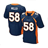 WSZS Men's Rugby Jersey NFL T-Shirt Denver Broncos 58# Miller Child Short Sleeve Comfortable Breathable Sweatshirt, Sports Short Sleeve V-Neck T-Shirt