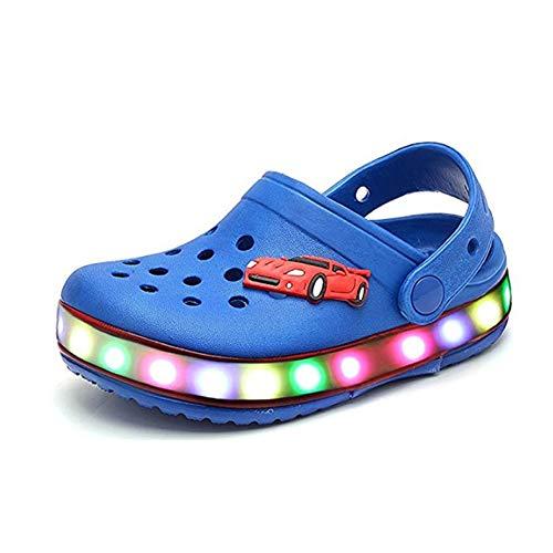 Kinder LED Sandalen Sommer Outdoor Strand LED Blinkend Leucht Flache Hausschuhe Licht Atmungsaktiv Rutschfest Freizeit Schuhe für Jungen Mädchen (35 EU, Blau)