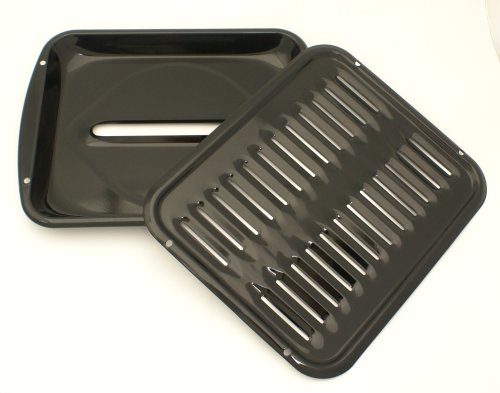 Range Kleen 2 Piece Heavy Duty Porcelain Full Size Convection Broiler Pan 16 by 12.75 by 1.74 Inches