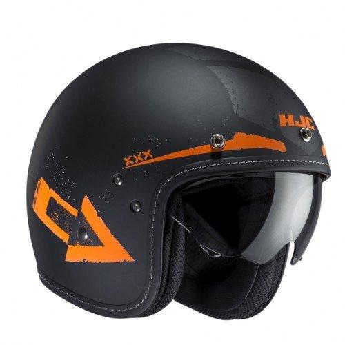 HJC FG 70s Tales MC-7F Jethelm, Farbe schwarz-orange matt, Größe S(55-56)