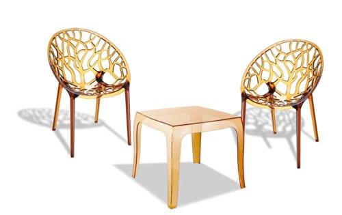 CLP Outdoor-Sitzgruppe ARENDAL | 2 stapelbare Stühle und 1 stapelbarer Tisch | Gartenmöbel aus pflegeleichtem Kunststoff erhältlich Bernstein