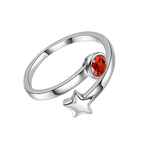 litulituhallo Anillo de plata de ley con piedra de nacimiento de abril para mujer, con circonita blanca redonda y diamante de abril