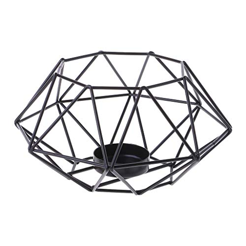 stoertuy Nordic Style 3D Octagon Geometric Metal Candle Tea Light Candlestick Holder Sconce Wedding Home Decor-R