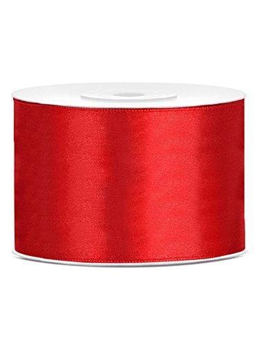 partydeco.pl Satinband 50mm x 25m rot Geschenkband Schleifenband Dekoband Hochzeit Weihnachte