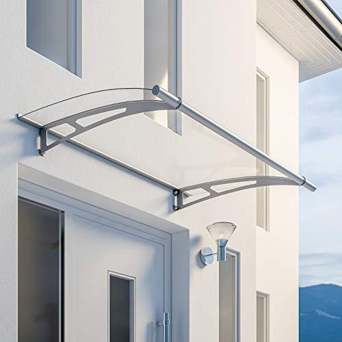 Schulte Pultvordach LT-Line, 150 x 95 cm, 4 mm Acrylglas Klar, Wandhalterung Edelstahl V2a matt gebürstet, Vordach Haustür Überdachung, EP1015-10-20