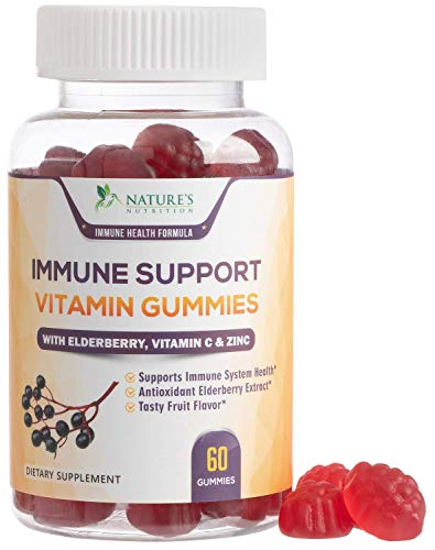 Immune Support Vitamin Gummies with Black Elderberry Extract, C & Zinc, Natural Pectin Based Gummy, Immune System Support Supplement for Children & Adults - Tasty Fruit Flavor - 60 Gummies