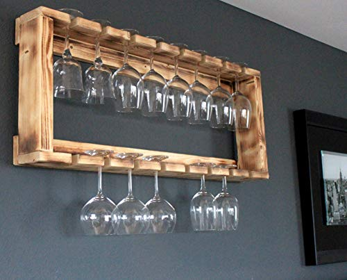 Holz Gläser Regal passend zum Wein Regal fertig montiert geflammt