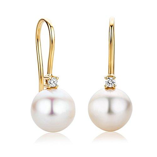 Orovi Orecchini Donna pendenti con Perle d'acqua dolce con Diamanti taglio brillante Ct 0.06 in oro Giallo 18 Kt 750