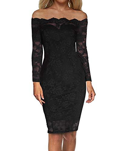 Auxo Damen Langarm Kleider mit Spitze Schulterfreie Elegant Knielang Abend Etuikleid Schwarz EU 38/Etikettgröße M