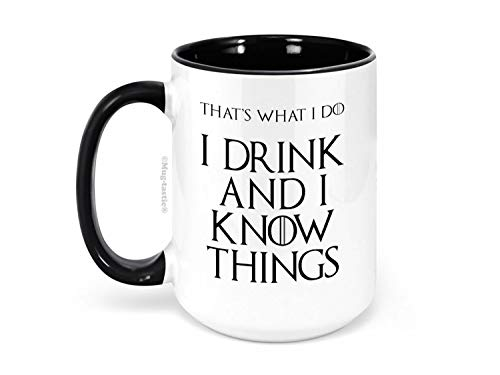 I Drink and I Know Things (That 's what I Do) - Tyrion Lannister - Grande 15oz Taza de Café de Cerámica