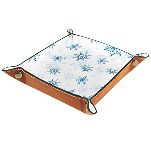 Bandeja de dados, plegable de cuero para dados, para juegos de dados RPG, D&D y otros juegos de mesa, copos de nieve azul