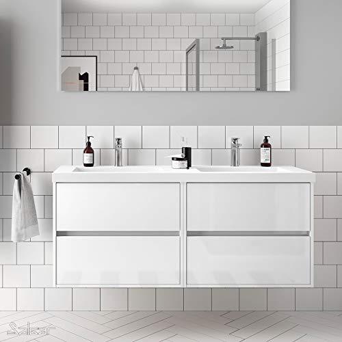 Salgar 85097 NOJA Mueble+Lavabo 140 Blanco Brillo