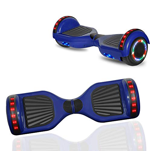 NHT Newest Edition Electric Hoverboard Self Balancing Scooter with Built-in Bluetooth Speaker LED Lights - Safety Certified - STD Blue
