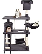 GRANDMA SHARK Árbol Rascador para Gatos, Casas de Juego y Lugares de Descanso para Gatos (Gris Profundo)