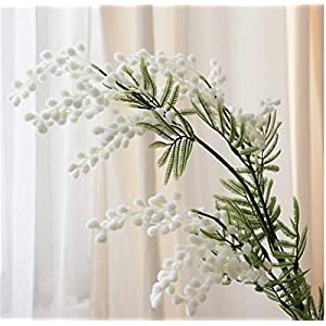 TRRT Fake Plants Artificial Acacia Mimosa Cherry, Fake Silk Flower Wedding Party Decor Red Bean Plant Fake Flower (Color : White)