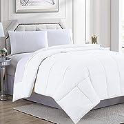 Comforter Queen Size Down Alternative Microfiber Quilted Solid Comforter/Duvet Insert - Ultra Soft Hypoallergenic Bedding - Medium Warmth for All Seasons Queen Comforter - White