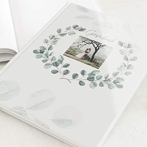 sendmoments Gästebuch zur Hochzeit, Blätterkrone, personalisiert mit Wunschbild, hochwertiges...