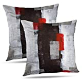 Alricc Red and Grey Abstract Art Pillow Cover, Modern...