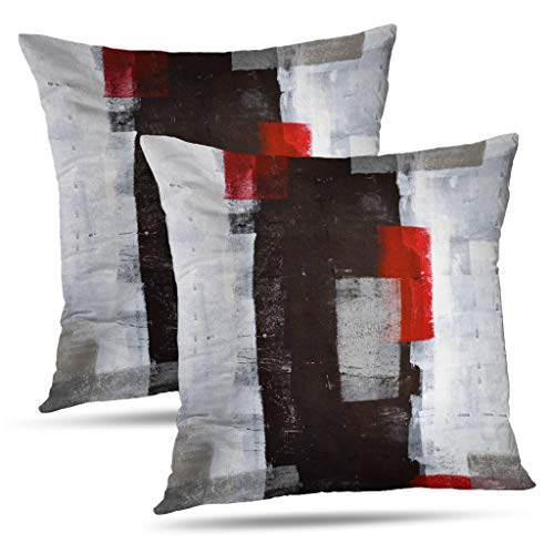 Alricc Red and Grey Abstract Art Pillow Cover, Modern Black White Wall Decorative Throw Pillows Cushion Cover for Bedroom Sofa Living Room 18 x 18 Inch Set of 2
