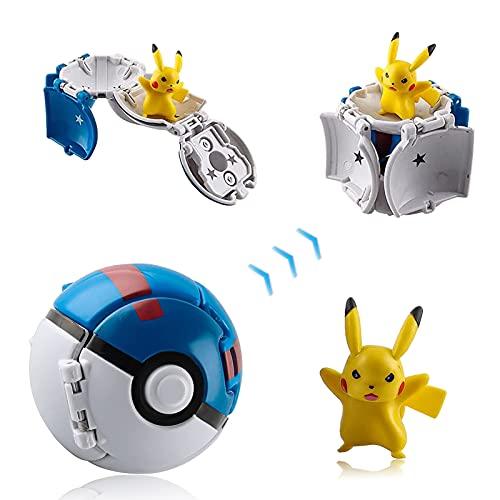 Poke Ball, Pokemon Ball, Figurina Poke Ball, Pokeball Pokemon, Throw Pokemon PokéBall, Kid Toys Plastic Anime Pokeball Figure per Bambini e Adulti Festa Giocattolo Regalo (Pikachu A)