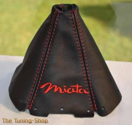 Für Mazda MX-5Mk11989–1997Schaltsack schwarz Leder rot Miata Edition Stickerei