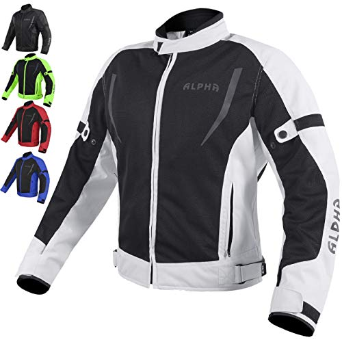 HI VIS MESH MOTORCYCLE JACKET FOR MENS RIDING BIKERS RACING DUAL SPORTS BIKE ARMORED PROTECTIVE… (GRAY, LARGE)