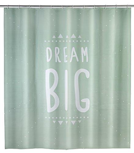 WENKO Duschvorhang Dream Big - wasserdicht, pflegeleicht, Polyethylen-Vinylacetat, 180 x 200 cm, Minzgrün
