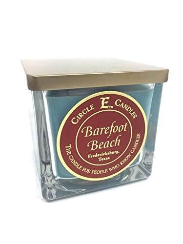 Circle E Barefoot Beach Scented Jar Candle | Size 22oz | 110 Hour Burn Time | 2 Wicks | Wax Color Teal | Glass Jar | Made in USA