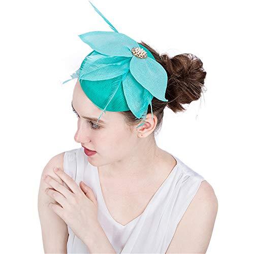 Wenzhihua Élégant Chapeau De Fascinateur pour Femmes Chapeau De Mariée Plume De Mariée Clip Accessoires Accessoires Safari Royal Ascot Chapeaux de Mariage pour Les Femmes (Couleur : Bleu)
