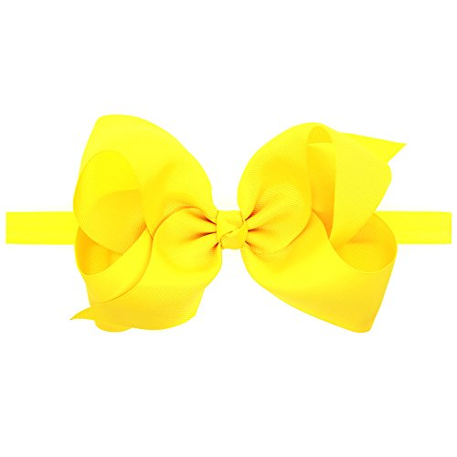 LD DRESS Baby Girls Infant Headbands With Kids Hair Bows(16) (Yellow)