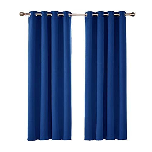 UMI by Amazon Cortinas Salón Opacas Térmicas Aislantes Frío y Calor para Ventanas Suaves con Ojales 2 Paneles 117x183cm Azul Oscuro