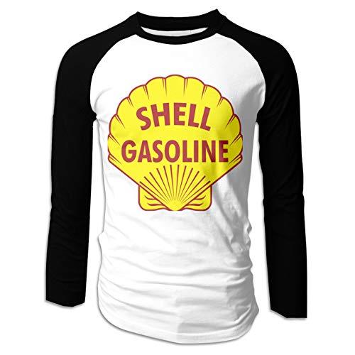 Shell Gasoline Gas Station Men's 100% Cotton Casual Basic Raglan Long Sleeve Baseball T-Shirts