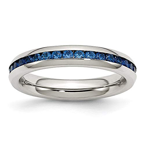Ryan Jonathan Fine Jewelry Stainless Steel 4mm September Blue Cubic Zirconia Ring, Size 7