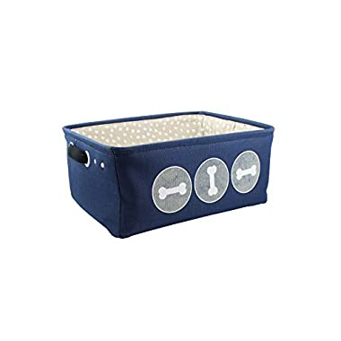 "Winifred & Lily Pet Toy and Accessory Storage Bin, Organizer Storage Basket for Pet Toys, Blankets, Leashes and Food in embroidered ""Bones, Navy"