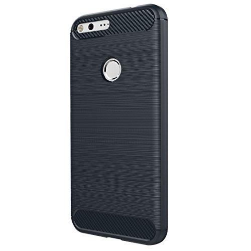 HH-Phone Funda para Google Pixel XL Textura de fibra de carbono cepillada a prueba de golpes TPU Funda protectora hangma (color azul oscuro)