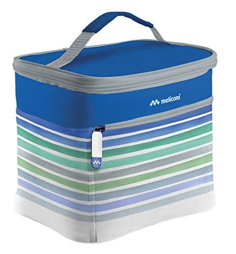 Meliconi Borsa Termica lunch box 6 Lt Eco, decoro a righe, con rivestimento in PEVA Spessore 6 mm. Con ampia tasca esterna con zip.
