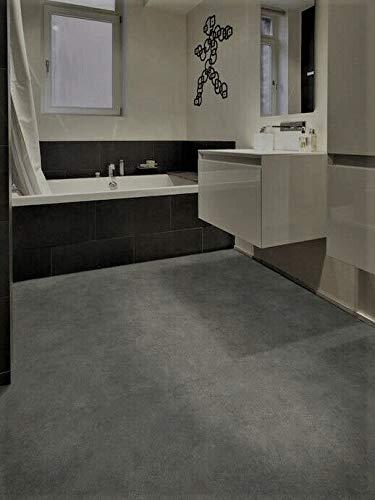 PVC Bodenbelag in dunklem Beton (5,95€/m²), Zuschnitt (4m breit, 2m lang)