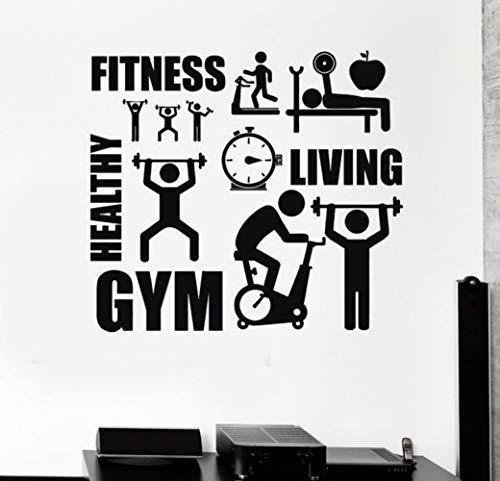 XCJX gym love sports life personnalité personnalité créative stickers muraux décoratifs peuvent être enlevés 57x51cm